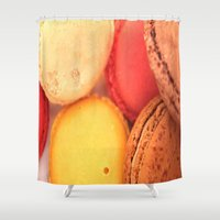 macaroons Shower Curtains featuring Macaroons by alexarayy