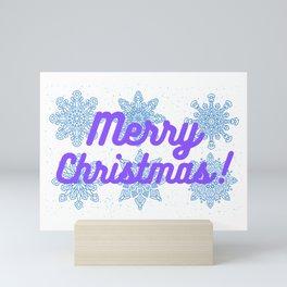 Merry Christmas Snowflakes Mini Art Print