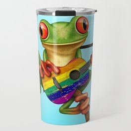 Tree Frog Playing Acoustic Guitar with Gay Pride Rainbow Flag Travel Mug