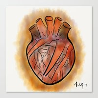 anatomical heart Canvas Prints featuring Anatomical Heart by transFIGure