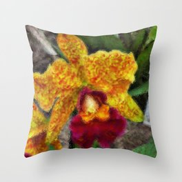 Smeary Painted Orchid Throw Pillow