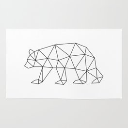 Geometric Bear in Black and White Rug