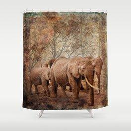 Elephants family on a walk Shower Curtain