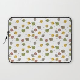 Colorado Aspen Tree Leaves Hand-painted Watercolors in Golden Autumn Shades on Clear Laptop Sleeve