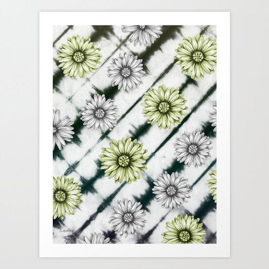 Green Daisies Smile Art Print