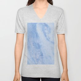 Shimmery Pure Cerulean Blue Marble Metallic Unisex V-Neck