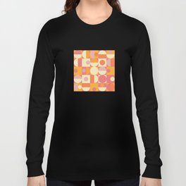 Thoroughly Modern Pink And Orange Geometric Design Long Sleeve T-shirt