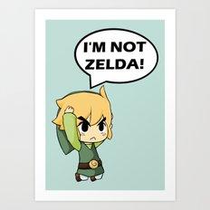 I'm not Zelda! (link from legend of zelda) Art Print