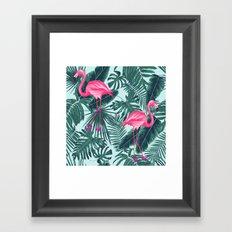 tropical pink flamingo Framed Art Print