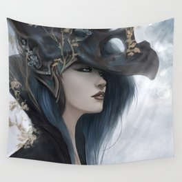 Bluish Black - Mysterious fantasy mage girl portrait Wall Tapestry
