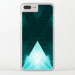 Turquoise skyscraper mill V WH Clear iPhone Case