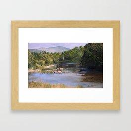 Landscape Vermont Summer River Watercolor Framed Art Print