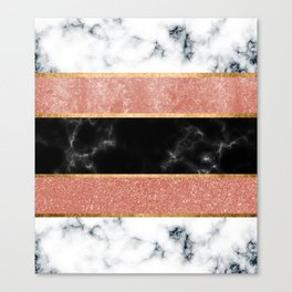 inlaid marble and metal stripes Canvas Print