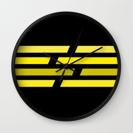 Yellow lines on black background Wall Clock