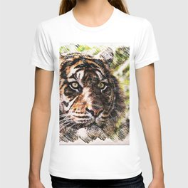 Tiger Eyes Piercing Through the Jungle T-shirt