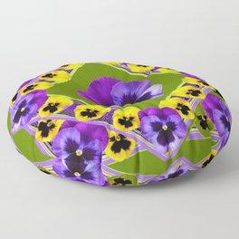 GREEN GEOMETRIC  PURPLE & YELLOW  PANS GARDEN ART Floor Pillow