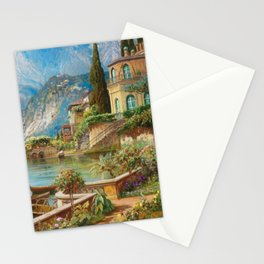 Lakeside Flower Garden Landscape Painting, Lake Como, Italy Stationery Cards