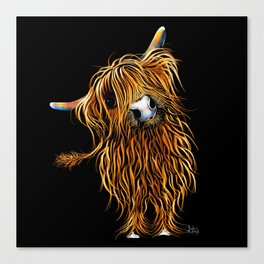 HIGHLAND COW PRINTS of Original SCOTTISH Painting  'CoooWeee on BLaCK ' SHIRLEY MACARTHUR Canvas Print