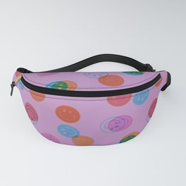 Smiley Face Stamp Print in Purple Fanny Pack