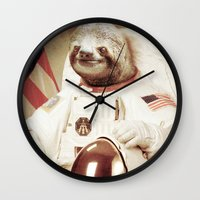 astronaut Wall Clocks featuring Sloth Astronaut by Bakus
