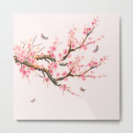 Pink Cherry Blossom Dream Metal Print