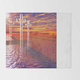 Christian crosses on red sea Throw Blanket