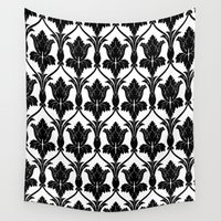 221b Wall Tapestries featuring 221B Baker Street - Fleur de lis. by Arrows At My Window Designs