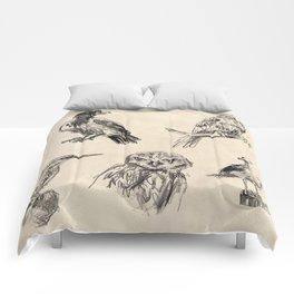 Bird vintage sketches 2 Comforters