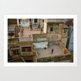 Varanasi rooftops Art Print