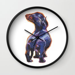 DACHSHUND Dog doxie portrait bright colorful Pop Art Painting by LEA Wall Clock