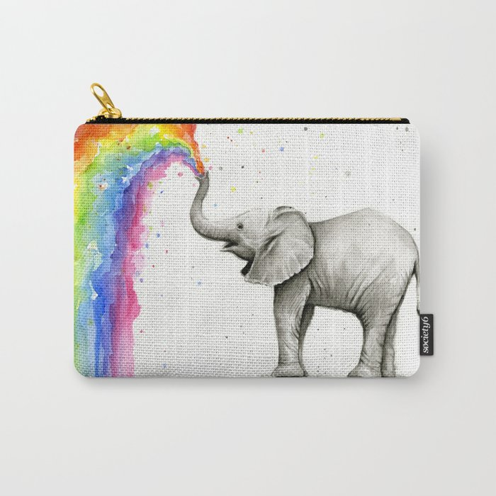 Baby Elephant Spraying Rainbow Tasche
