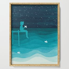 Boy with paper boats, watercolor teal art Serving Tray