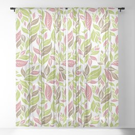 Retro Vintage Inspired Leaf Print in Modern Pink Green Brown Sheer Curtain