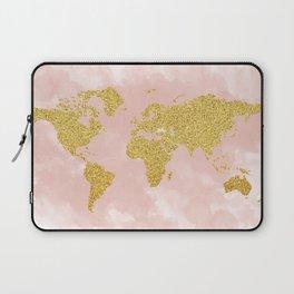 Gold Glitter Map, Nursery Art, Pink Gold, Pastels Laptop Sleeve