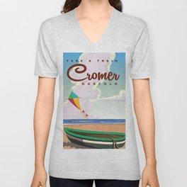Cromer Vintage beach travel poster Unisex V-Neck