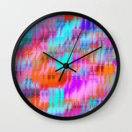 psychedelic geometric painting texture abstract background in pink blue orange purple Wall Clock