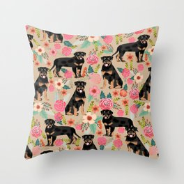 Rottweiler florals cute dog pattern pet friendly dog lover gifts for all dog breeds Throw Pillow