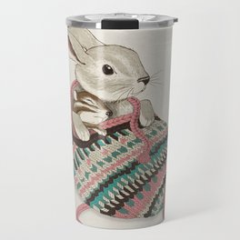 Cozy Bunny and Chipmunk Travel Mug