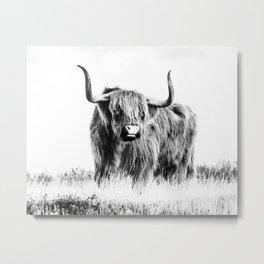 Bull print, Scandinavian, Wall Art, Minimal, Modern Metal Print