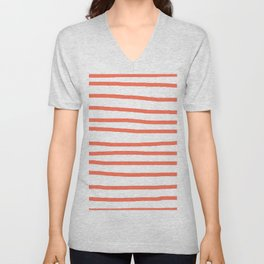 Simply Drawn Stripes in Deep Coral Unisex V-Neck