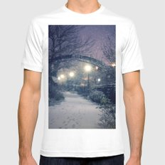 Winter Garden in the Snow MEDIUM White Mens Fitted Tee
