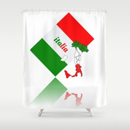 Elegant Italia - Italy Flag And Map Shower Curtain