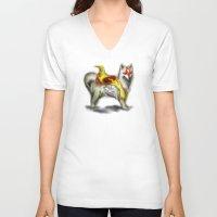 okami V-neck T-shirts featuring Okami dog by Adaildo Neto