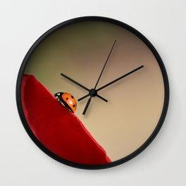 Ladybug on a Rose Wall Clock