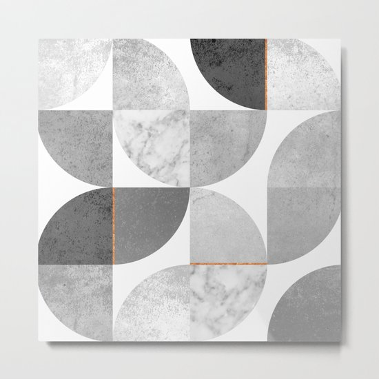 Marble Gray Copper Black and white circles Metal Print