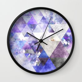 Purple and silver glitter triangle pattern- Abstract Watercolor illustration Wall Clock