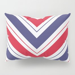 Patriotic Red White and Blue Chevron Stripes Pillow Sham