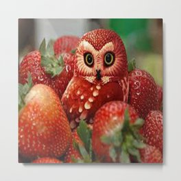Owl_Strawberry Metal Print