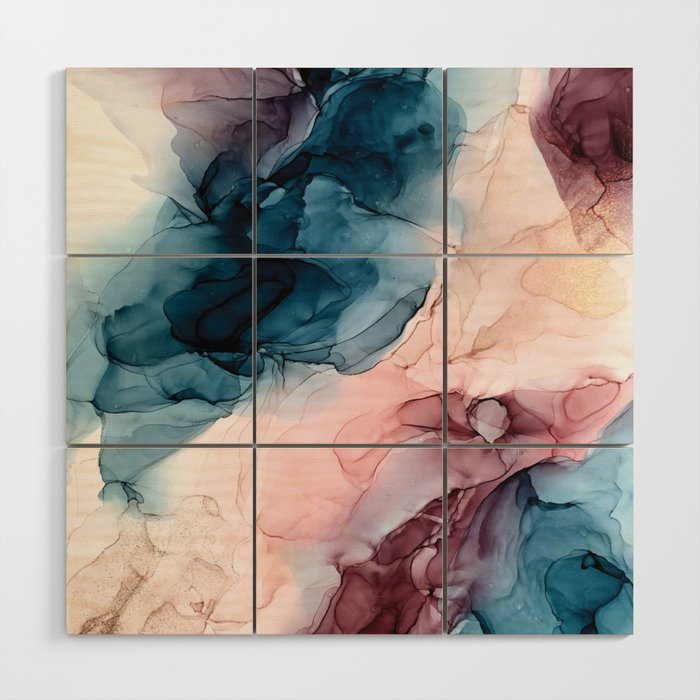 Pastel Plum, Deep Blue, Blush and Gold Abstract Painting Wood Wall Art