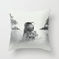astronaut Throw Pillows featuring Astronaut by lacabezaenlasnubes